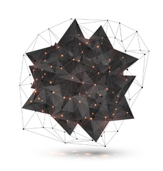 Abstract low poly black object with polygonal grid vector image