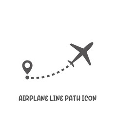 airplane line path icon simple flat style vector image