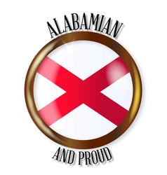 alabama proud flag button vector image