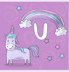 alphabet letter u and unicorn abc vector image