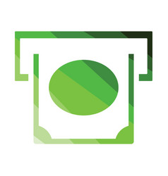 banknote sliding from atm slot icon vector image
