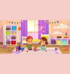 baroom children play on floor vector image