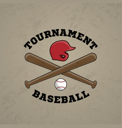 baseball logo emblem of tournament vector image