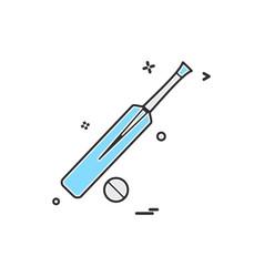 bat ball cricket icon design vector image