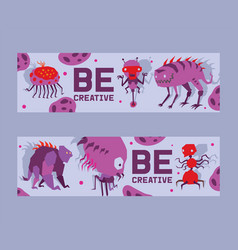 be creative set banners vector image