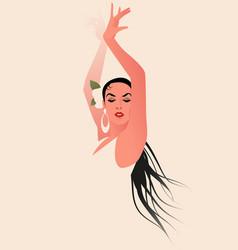beautiful spanish flamenco dancer wearing flower vector image
