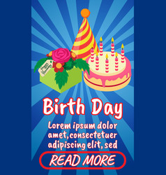 Birth day concept banner comics isometric style vector