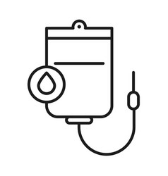 Blood bag and drop line style icon design vector