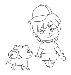 boy in cap plays with dog teaches the vector image