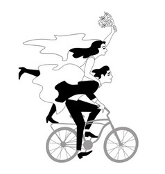 Bride and groom riding bicycle vector