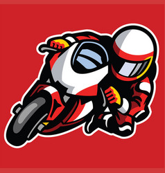 Cartoon style of sportbike race cornering vector