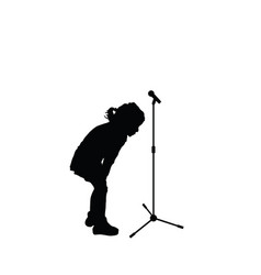 child cute silhouette with microphone vector image