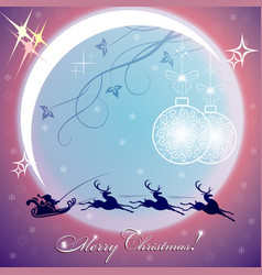 Christmas purple background with big bright moon vector