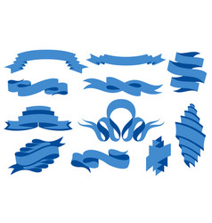 collection curved ribbons set blue web banner vector image
