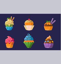 colorful delicious cupcakes set bright creamy vector image