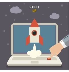 Concept of start up rocket on gray vector image