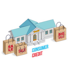 Consumer credit concept bank building with vector