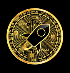 crypto currency stellar golden symbol vector image