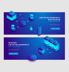 Cryptocurrency exchange and mining concept banner vector