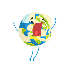 cute cartoon earth planet character shouting vector image
