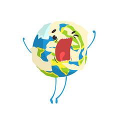 Cute cartoon earth planet character shouting vector