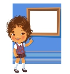 Cute little girl wearing school uniform vector