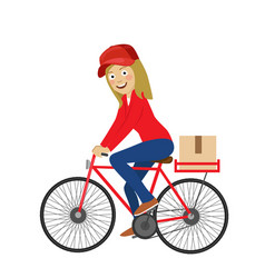 Delivery service young girl riding bicycle vector