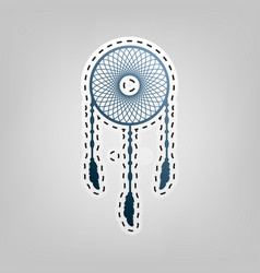 dream catcher sign blue icon with outline vector image