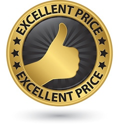 Excellent price golden sign with thumb up vector