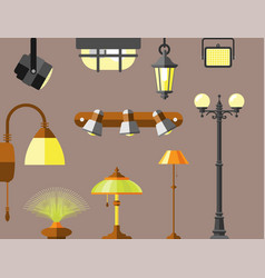 Flat electric lantern city lamp street urban vector