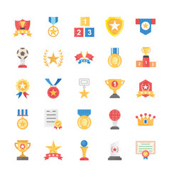 flat icons of rewards and medals vector image
