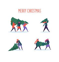 flat people characters with christmas tree vector image