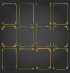 frames gold decorative rectangle and borders set vector image