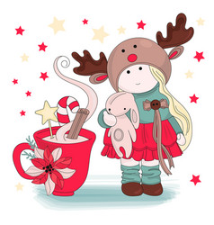 Girl congratulation merry christmas vector