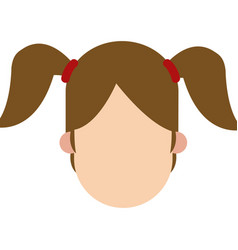 Girl ponytails faceless people character image vector