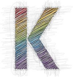 Hand draw font LETTER K vector