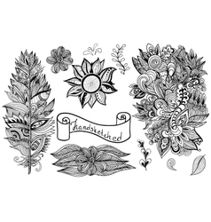 hand drawn black white design elements vector image