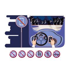 hands driving car with driver safely icons vector image