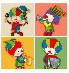 Happy clowns playing different instruments vector