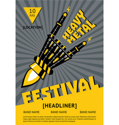 Heavy metal festival poster with robots hand rock vector