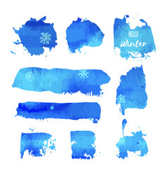 Hello winter hand paint blue watercolor texture vector