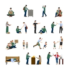 Homeless Icons Set vector image