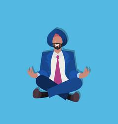 Indian businessman sitting lotus yoga pose vector