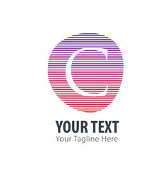 initial letter c abstract line logo style vector image