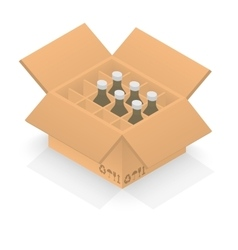 Isometric cardboard box with group bottles vector image