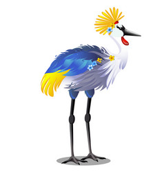 majestic bird crown crane with headdress or vector image