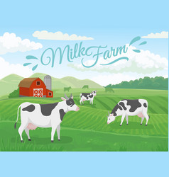 Milk farm field dairy farms landscape cow on vector