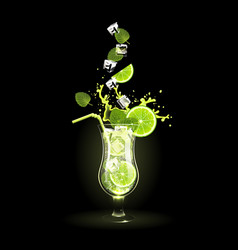 mojito cocktail with lime and ice cubes vector image