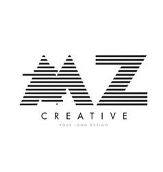 Mz m z zebra letter logo design with black and vector