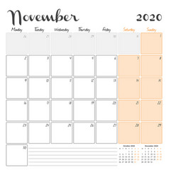 November 2020 monthly calendar planner printable vector